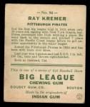 1933 Goudey #54  Ray Kremer  Back Thumbnail