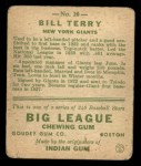 1933 Goudey #20  Bill Terry  Back Thumbnail