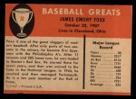 1961 Fleer #28  Jimmie Foxx  Back Thumbnail