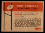 1960 Fleer #21  Tony Sardisco  Back Thumbnail