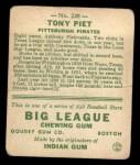 1933 Goudey #228  Tony Piet  Back Thumbnail
