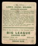 1933 Goudey #211  Hack Wilson  Back Thumbnail