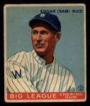 1933 Goudey #134  Sam Rice  Front Thumbnail