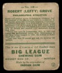 1933 Goudey #220  Lefty Grove  Back Thumbnail