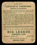1933 Goudey #13  Lafayette Thompson  Back Thumbnail