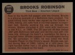 1962 Topps #468   -  Brooks Robinson All-Star Back Thumbnail