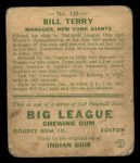 1933 Goudey #125  Bill Terry  Back Thumbnail