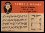 1961 Fleer #43  Rogers Hornsby  Back Thumbnail