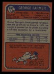 1973 Topps #197  George Farmer  Back Thumbnail