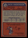 1973 Topps #240  Dick Anderson  Back Thumbnail