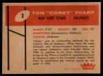 1960 Fleer #2  Corky Tharp  Back Thumbnail