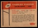 1960 Fleer #104  Charles Kaaihue  Back Thumbnail