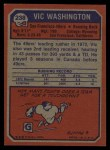 1973 Topps #238  Vic Washington  Back Thumbnail