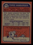 1973 Topps #250  Chris Hanburger  Back Thumbnail