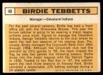1963 Topps #48  Birdie Tebbetts  Back Thumbnail