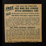 1954 Red Man #1 NL x Richie Ashburn  Back Thumbnail