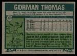 1977 Topps #439  Gorman Thomas  Back Thumbnail