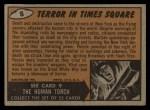 1962 Topps / Bubbles Inc Mars Attacks #8   Terror in Times Square  Back Thumbnail