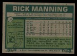 1977 Topps #115  Rick Manning  Back Thumbnail