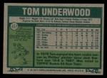 1977 Topps #217  Tom Underwood  Back Thumbnail