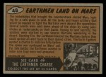 1962 Topps / Bubbles Inc Mars Attacks #48   Earthmen Land on Mars Back Thumbnail