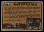 1962 Bubbles Inc Mars Attacks #46   Blast Off for Mars  Back Thumbnail