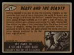 1962 Topps / Bubbles Inc Mars Attacks #17   Beast and the Beauty  Back Thumbnail