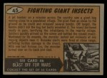 1962 Bubbles Inc Mars Attacks #45   Fighting Giant Insects  Back Thumbnail