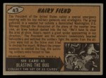 1962 Topps / Bubbles Inc Mars Attacks #42   Hairy Fiend  Back Thumbnail