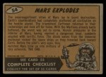 1962 Topps / Bubbles Inc Mars Attacks #54   Mars Explodes  Back Thumbnail