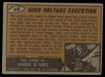 1962 Topps / Bubbles Inc Mars Attacks #40   High Voltage Execution Back Thumbnail