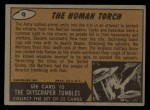 1962 Mars Attacks #9   The Human Torch Back Thumbnail