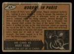 1962 Topps / Bubbles Inc Mars Attacks #41   Horror in Paris  Back Thumbnail