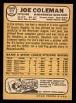 1968 Topps #573  Joe Coleman  Back Thumbnail