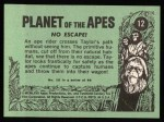 1969 Topps Planet of the Apes #12   No Escape Back Thumbnail