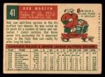 1959 Topps #41  Bob Martyn  Back Thumbnail
