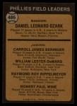 1973 Topps #486 ORA  -  Danny Ozark / Carroll Beringer / Billy De Mars / Ray Rippelmeyer / Bobby Wine Phillies Leaders Back Thumbnail