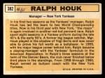 1963 Topps #382  Ralph Houk  Back Thumbnail