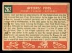 1959 Topps #262   -  Don Drysdale / Clem Labine / Johnny Podres Hitters' Foes Back Thumbnail