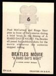1964 Topps Beatles Movie #6   Paul And Ringo During Break Back Thumbnail