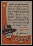 1958 Topps Zorro #78   Diego The Troubador Back Thumbnail