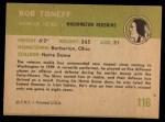 1961 Fleer #116  Bob Toneff  Back Thumbnail