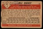 1953 Bowman B&W #3  Bill Rigney  Back Thumbnail