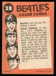1964 Topps Beatles Color #28   Ringo on drums Back Thumbnail