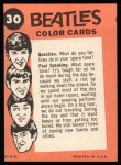 1964 Topps Beatles Color #30   Beatles in concert Back Thumbnail