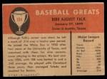 1961 Fleer #104  Bibb Falk  Back Thumbnail