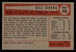 1954 Bowman #93 ALL Bill Serena  Back Thumbnail