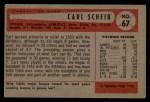 1954 Bowman #67 COR Carl Scheib  Back Thumbnail