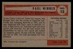 1954 Bowman #13  Paul Minner  Back Thumbnail