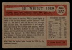 1954 Bowman #177  Whitey Ford  Back Thumbnail